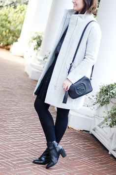 black and grey winter outfit, stormy, neutrals, dark outfit, work to play outfit, event outfit, grey and black, how to style a skirt in the winter, winter skirts, j crew coat