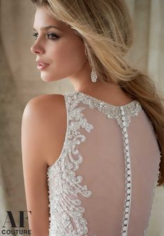 Back of 1330 Wedding Gowns / Dresses Intricate Embroidery with Swarovski Crystals on Net