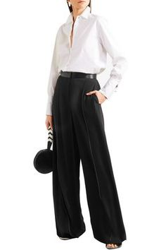 ELIZABETH AND JAMES ELIZABETH AND JAMES WOMAN YULI SATIN-TRIMMED CREPE WIDE-LEG PANTS BLACK. #elizabethandjames #cloth