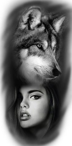Wolf and girl Native American Tattoos, Native American Beauty, Wolf Photos, Wolf Pictures, Wolf Tattoo Sleeve, Sleeve Tattoos, Tattoo Wolf, Tattoo Ink, Arm Tattoo