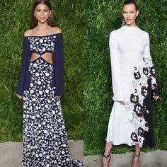 Os mais lindos looks do CFDA/Vogue Fashion 2016!💟 Começando pelas lindas Zendaya, que veste #michaelkors off the shoulder, azul e branco, floral, mangas longas, com recortes na cintura. E Karlie Kloss de vestido #prabalgurung todo branco, de mangas longas, com detalhe azul floral na fenda.✨ #glamourous #zendaya #karliekloss #fashionstyles #cfdavogue #newyork