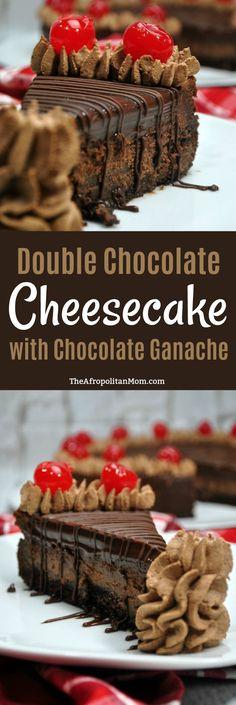Double Chocolate Cheesecake with Chocolate Ganache Recipe. Rich, decadent, chocolate cake crust, chocolate cheesecake filling and chocolate ganache glaze. Perfect for chocolate lovers. Best cheesecake recipe.