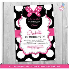Minnie Mouse 2nd Birthday Invitations Printable By Thepartystork Girls Party