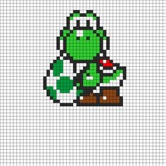 Yoshi And Egg Perler Bead Pattern | Bead Sprites | Characters Fuse Bead Patterns