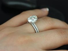Darcy 14kt White Gold Oval FB Moissanite and by RosadosBox on Etsy