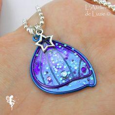 Pendentif Pixie 1 Bicolore Bleu / Violet // Bleu Paon + paillettes