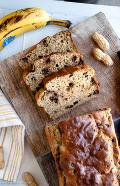 Healthy chocolate chip banana bread made using whole wheat flour, protein powder and no oil!    I loaded this banana bread with PEScience's new Peanut Butter Cookie f…