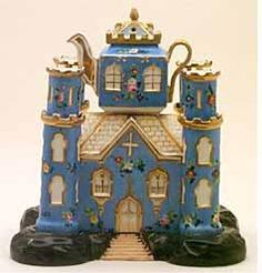 Blue-castle Teapot and Stand