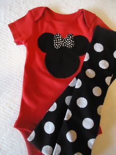 Girl Baby Childrens Minnie Mouse Red and White Polka by SewDazzled, $25.45 in love with this for Jayde!