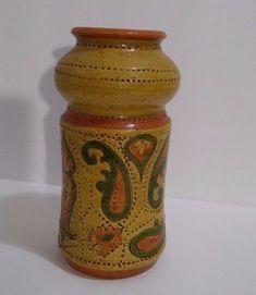 Vintage Aldo Londi Bitossi Italian Art Pottery Vase Mid Century Paisley Design #Bitossi #Italian