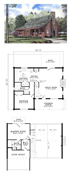 Log Home Plan 61101 | Total Living Area: 1382 sq. ft., 2 bedrooms and 2 bathrooms. This log home plan lends itself a romantic feel with its Front Covered Porch. The Great room with cozy fireplace and access to the rear deck opens to the above loft and skylights. #loghome