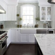 Kitchen sink and overhead cabinets