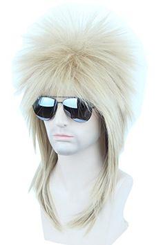 Topcosplay Adult 70s 80s Halloween Costumes Wig Rocking Dude Wig Punk Metal Rocker Disco Mullet Wig (Blonde)...