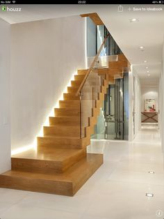 Modern Stairs Design Ideas, Pictures, Remodel, and Decor - page 2 House Design Photos, Cool House Designs, Modern House Design, Staircase Contemporary, Modern Stairs, Contemporary Design, Modern Art, Modern Hallway, Modern Basement