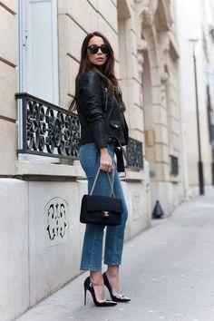 Johanna Olsson wearing Leathet jacket, jeans and black patent pointed toe heels. Beauty on High Heels #Fashion