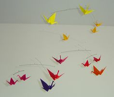 Beautiful origami mobile - Warm side of the rainbow