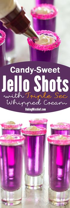 Jello shots with a major flavor upgrade. Candy-sweet and topped with triple sec whipped cream, you'll actually want to savor these shots! Recipe includes nutritional information. From BakingMischief.com