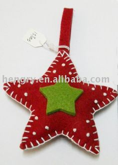 Felt Christmas Decoration - Use white stars already cut. Christmas Projects, Felt Crafts, Holiday Crafts, Felt Christmas Decorations, Felt Christmas Ornaments, Christmas Sewing, Handmade Christmas, Christmas Makes, Christmas Time