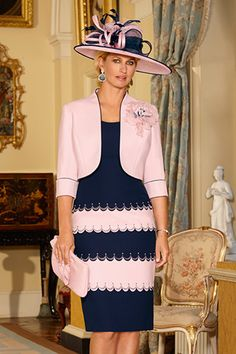 Condici 70846 Shift Style Dress with Matching Jacket in Pink Sherbet/Navy
