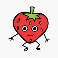 'Cute Strawberry Character Sticker' Sticker by CarmelaGiordano Cute Strawberry, Transparent Stickers, Glossier Stickers, Sell Your Art, Sticker Design, My Arts, Art Prints, Printed, Awesome