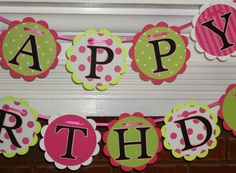 Happy Birthday  Banner   Hot pink Apple green by APaperPlayground, $19.00