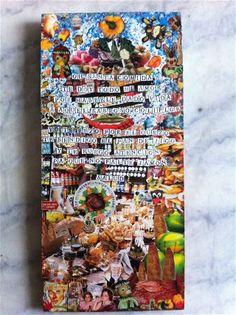 Santa comida (para Félix Méndez). Collage sobre madera. 26X56cm