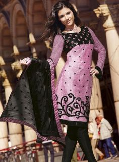 Blushing Pink Churidar Kameez Set