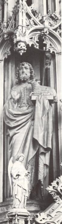 Johannes de Doper..  1883. Beeldhouwwerk door H. van der Geld. Nederland, Den Bosch, St-Janskathedraal.
