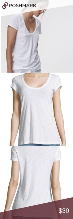 """SALE James Perse Cap-Sleeve White Scoop-Neck Tee James Perse Cap-Sleeve White Scoop-Neck Tee. James's Perse size 4 is equal to XL. The perfect white tee to pair with jeans, leggings, skirts, shorts. Lightweight and perfect to dress up or down.  Soft knit. Banded scoop neckline. Cap sleeves. Cotton/modal. Shoulder to hem 25 1/2"""" long. Armpit to armpit laying flat is approximately 20"""" across. This would be a great oversized white tee for a smaller size.  Or a more true to fit size L-XL with…"""