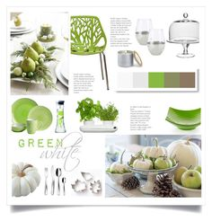 green and white by levai magdolna on polyvore featuring interior interiors interior design - Cyan Cafe Interior