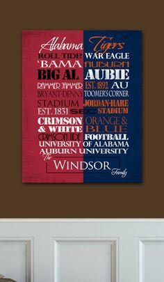 University of Alabama Crimson Tide / Auburn by SportingStandouts, $60.00 House Divided!!