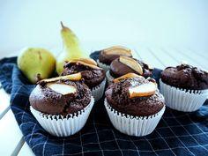 vegane Schoko-Haselnuss-Birnen-Muffins - Breakfast, Cake, Sugar Free Muffins, Vegan Muffins, Pears, Vegane Rezepte, Food Food, Simple Cakes, Brot