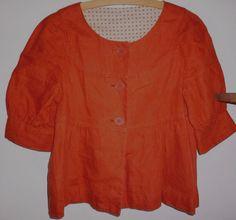HOBBS burnt orange 100% linen smock style Jacket 10 | eBay