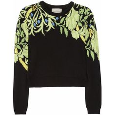 Preen by Thornton Bregazzi Cropped cashmere sweater (11,355 MXN) ❤ liked on Polyvore featuring tops, sweaters, jumpers, shirts, leaf green, green cashmere sweater, print shirts, loose sweater, green crop top and loose crop top