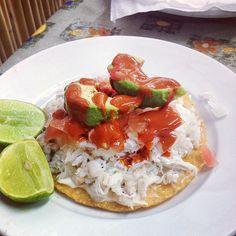 Tostadita de Jaiba con aguacate./  Crab tostada with avocado on top.