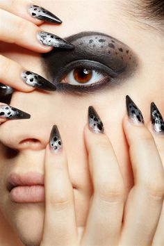 Nail Styles - Animal Print Nail Design i also like the makeup because I'm weird