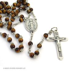 Tiger Eye Rosary Beads Miraculous