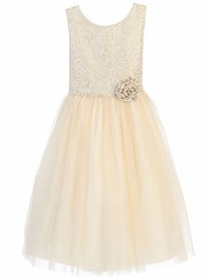 Enjoy exclusive for Sweet Kids Ornate Jacquard Top Multi-Tone Tulle Girls' Dress online - Topnicefashion Ivory Flower Girl Dresses, Girls Dresses, Formal Dresses, Luau Outfits, Girl Outfits, Simple Dresses, Beautiful Dresses, Jaquard Dress, Maid Dress