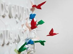 words can fly typographic poster, words can fly a thousand miles project - kyosuke nishida, brian li and dominic liu [exhibition for fukushima, design insired by japanese traditional custom of senbazuri, which means a group of a thousand origami cranes]