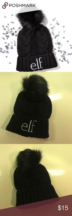 Elf Pom Pom beanie Adorable hat from e.l.f.  This has a really big Pom Pom!  Only available with a $40 purchase. No trades. ELF Accessories Hats