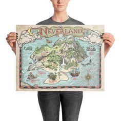 Neverland Map | Etsy Neverland Tattoo, Neverland Map, Pirate Treasure, Treasure Maps, Peter Pan Nursery, Ankle Tattoo Small, Tiny Tattoo, Small Tattoos, Story Of Peter