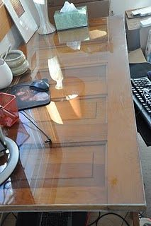 Repurpose an old door as desk with glass on top #upcycle