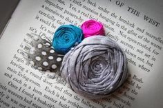 Gray Rosette Hair Clip with Feathers by Brydferth on Etsy, $24.00