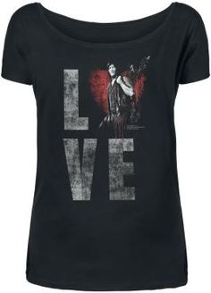 The Walking Dead - Daryl Dixon Love  - Front print - Boat neck - Casual fit  Daryl Dixon is the perfect man for you? With this t-shirt, you always have your beloved character from The Walking Dead close to you. The front is printed with the white lettering LOVE, the O being substituted by a crimson heart with our favourite hero Daryl in the centre. The black shirt has a very casual fit and features a nice boat neck.