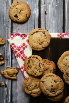 Chewy Chocolate Chip Cookies - added about a cup of oats and substituted 1/2 cups butter plus 1/4 cup greek yogurt for 1 cup of butter. YUM!