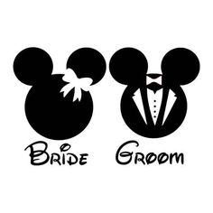 Bride and Groom Mickey Minnie Mouse Silhouette Disney Vinyl Decal Sticker Light Switch Kids Wedding Home Decor by FineDecalShop on Etsy