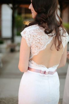 Opened back lace wedding dress #weddings #weddingdress #lace
