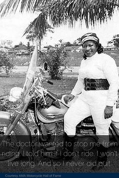 """The Motorcycle Queen of Miami"" Bessie Stringfield loved riding so much that she would drop a penny on a map and ride to wherever it landed. #womenshistory"