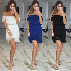 Fashion Womens Summer Off Shoulder Lace Casual Evening Party Beach Mini Dress | eBay