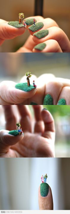 as neat as that is, the mossy ness, not the peoples!    Awesome Fingernail Art